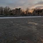 El Templo de Debod congelado